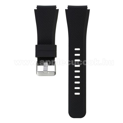 Okosóra szíj - szilikon, Twill mintás - FEKETE - L-es méret, 22mm széles, 20cm hosszú - SAMSUNG Galaxy Watch 46mm / SAMSUNG Gear S3 Classic / SAMSUNG Gear S3 Frontier