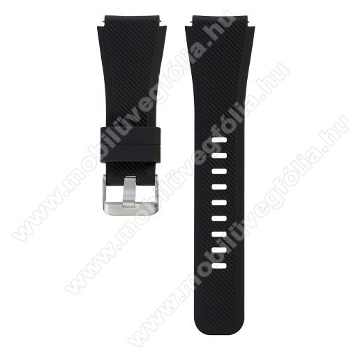 HUAWEI Honor MagicWatch 2 46mmOkosóra szíj - szilikon, Twill mintás - FEKETE - L-es méret, 22mm széles, 20cm hosszú - SAMSUNG Galaxy Watch 46mm / SAMSUNG Gear S3 Classic / SAMSUNG Gear S3 Frontier