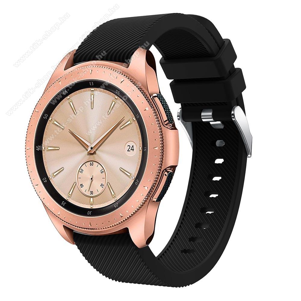 Okosóra szíj - szilikon, Twill mintás - FEKETE - 102mm + 80mm hosszú, 20mm széles, max 225mm-es csuklóra - SAMSUNG Galaxy Watch 42mm / HUAWEI Watch GT 2 42mm