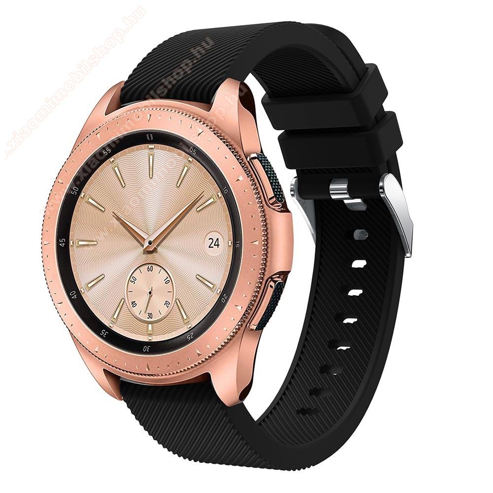 Xiaomi Amazfit BIP LiteOkosóra szíj - szilikon, Twill mintás - FEKETE - 130mm + 85mm hosszú, 20mm széles, max 225mm-es csuklóra - SAMSUNG Galaxy Watch 42mm / Xiaomi Amazfit GTS / SAMSUNG Gear S2 / HUAWEI Watch GT 2 42mm / Galaxy Watch Active / Active 2