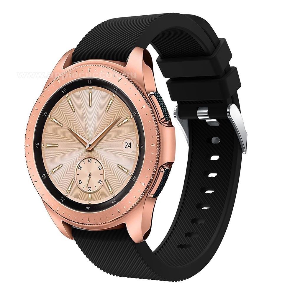 Okosóra szíj - szilikon, Twill mintás - FEKETE - 102mm + 80mm hosszú, 18mm széles, max 225mm-es csuklóra - SAMSUNG Galaxy Watch 42mm / HUAWEI Watch GT 2 42mm