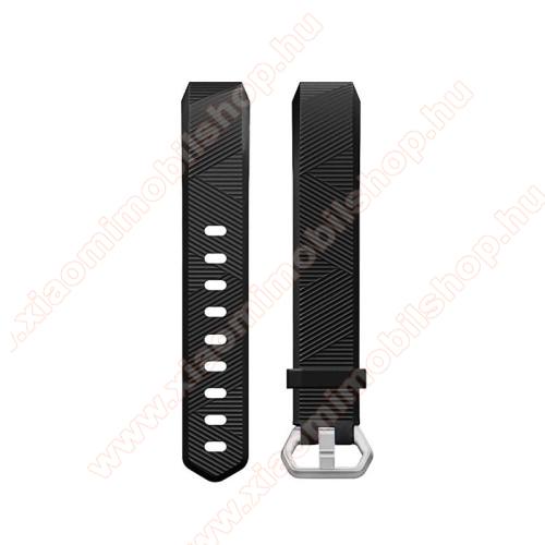 Okosóra szíj - szilikon, Twill mintás - FEKETE - 17cm hosszú - Fitbit Ace