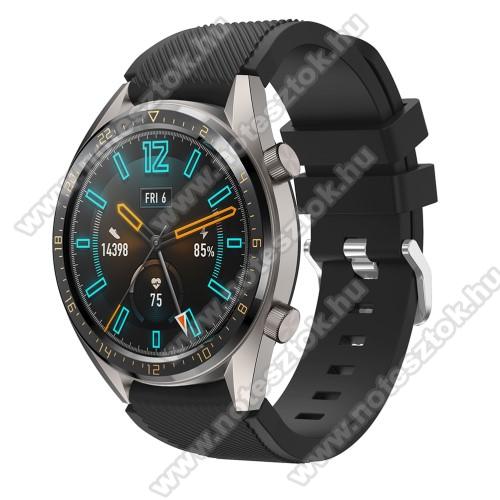 HUAWEI Honor MagicWatch 2 46mmOkosóra szíj - szilikon, Twill mintás - FEKETE - 93mm + 105mm hosszú, 22mm széles - HUAWEI Watch GT / HUAWEI Watch 2 Pro / Honor Watch Magic / HUAWEI Watch GT 2 46mm