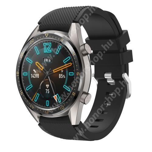 Okosóra szíj - szilikon, Twill mintás - FEKETE - 125mm + 80mm hosszú, 22mm széles - HUAWEI Watch GT / HUAWEI Watch 2 Pro / Honor Watch Magic / HUAWEI Watch GT 2 46mm