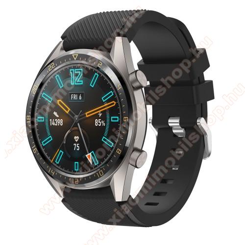Xiaomi Amazfit GTR 47mmOkosóra szíj - szilikon, Twill mintás - FEKETE - 93mm + 105mm hosszú, 22mm széles - HUAWEI Watch GT / HUAWEI Watch 2 Pro / Honor Watch Magic / HUAWEI Watch GT 2 46mm