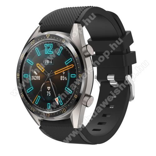 HUAWEI Watch 2 ProOkosóra szíj - szilikon, Twill mintás - FEKETE - 93mm + 105mm hosszú, 20mm széles - HUAWEI Watch GT / HUAWEI Honor Watch Magic / HUAWEI Watch 2 Pro
