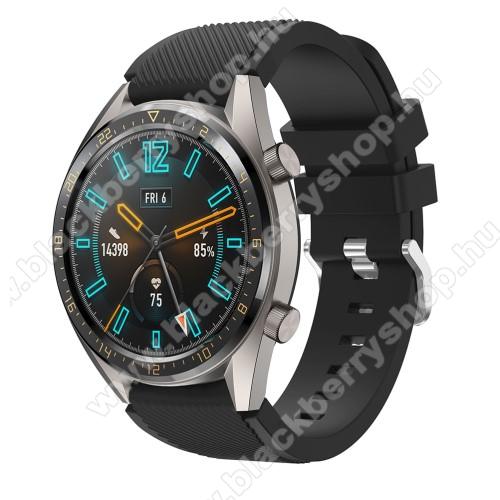Okosóra szíj - szilikon, Twill mintás - FEKETE - 93mm + 105mm hosszú, 22mm széles - HUAWEI Watch GT / HUAWEI Watch 2 Pro / Honor Watch Magic / HUAWEI Watch GT 2 46mm