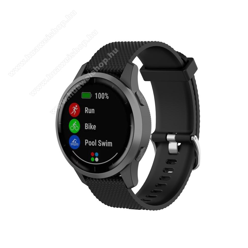HUAWEI Watch GT 2 46mmOkosóra szíj - szilikon, Twill mintás - FEKETE - 22mm széles, 107,75mm+91,85mm hosszú - Garmin Vivoactive 4