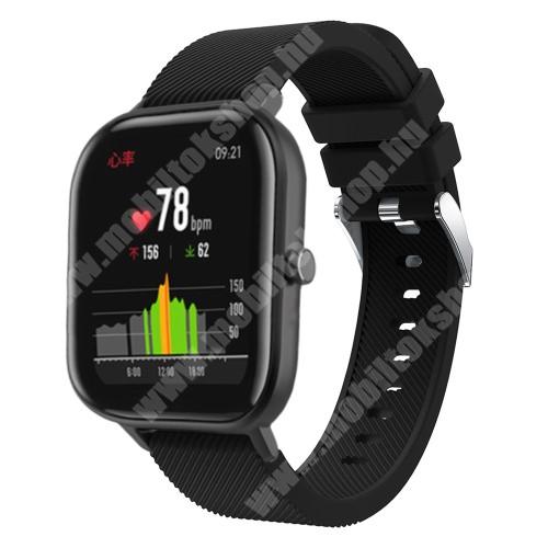 Okosóra szíj - szilikon, Twill mintás - FEKETE - 130mm+95mm hosszú, 20mm széles, 170-225mm átmérőjű csuklóméretig - SAMSUNG Galaxy Watch 42mm / Xiaomi Amazfit GTS / SAMSUNG Gear S2 / HUAWEI Watch GT 2 42mm / Galaxy Watch Active / Active 2