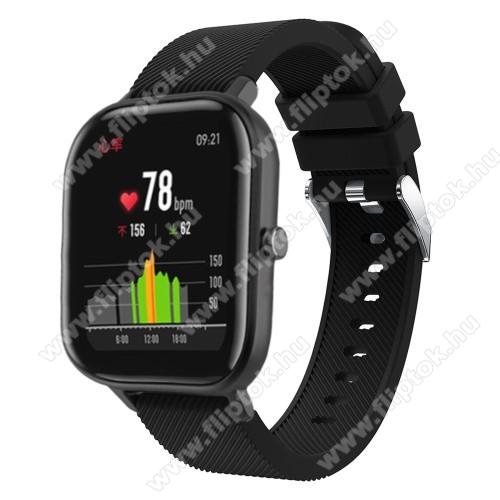 EVOLVEO SPORTWATCH M1SOkosóra szíj - szilikon, Twill mintás - FEKETE - 130mm+95mm hosszú, 20mm széles, 170-225mm átmérőjű csuklóméretig - SAMSUNG Galaxy Watch 42mm / Xiaomi Amazfit GTS / SAMSUNG Gear S2 / HUAWEI Watch GT 2 42mm / Galaxy Watch Active / Active 2