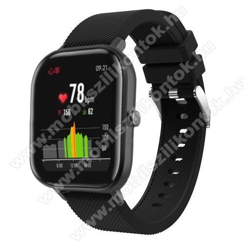 Okosóra szíj - szilikon, Twill mintás - FEKETE - 130mm+95mm hosszú, 20mm széles, 170-225mm átmérőjű csuklóméretig - SAMSUNG Galaxy Watch 42mm / Xiaomi Amazfit GTS / HUAWEI Watch GT / SAMSUNG Gear S2 / HUAWEI Watch GT 2 42mm / Galaxy Watch Active / Active
