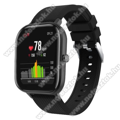 WOTCHI SmartWatch W22SOkosóra szíj - szilikon, Twill mintás - FEKETE - 130mm+95mm hosszú, 20mm széles, 170-225mm átmérőjű csuklóméretig - SAMSUNG Galaxy Watch 42mm / Xiaomi Amazfit GTS / SAMSUNG Gear S2 / HUAWEI Watch GT 2 42mm / Galaxy Watch Active / Active 2