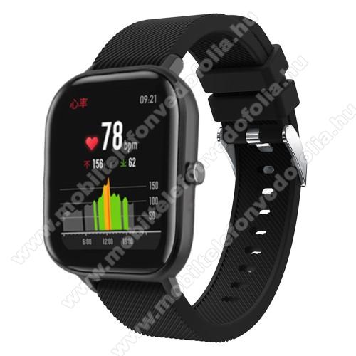 Garmin VenuOkosóra szíj - szilikon, Twill mintás - FEKETE - 130mm+95mm hosszú, 20mm széles, 170-225mm átmérőjű csuklóméretig - SAMSUNG Galaxy Watch 42mm / Xiaomi Amazfit GTS / SAMSUNG Gear S2 / HUAWEI Watch GT 2 42mm / Galaxy Watch Active / Active 2