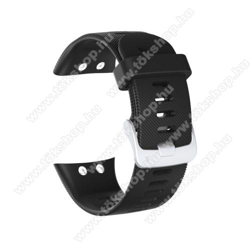 Okosóra szíj - szilikon, Twill mintás - FEKETE - 115mm+85mm hosszú, 150mm-től 210mm-es méretű csuklóig ajánlott - Garmin Forerunner 45 / Garmin Forerunner 45S