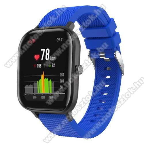 WOTCHI SmartWatch W22SOkosóra szíj - szilikon, Twill mintás - KÉK - 20mm széles, 130mm+95mm hosszú, 170-225mm átmérőjű csuklóméretig - SAMSUNG Galaxy Watch 42mm / Xiaomi Amazfit GTS / SAMSUNG Gear S2 / HUAWEI Watch GT 2 42mm / Galaxy Watch Active / Active 2