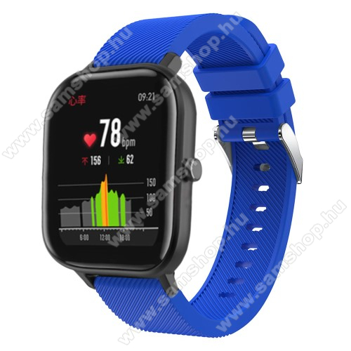 SAMSUNG SM-R720 Gear S2 ClassicOkosóra szíj - szilikon, Twill mintás - KÉK - 20mm széles, 130mm+95mm hosszú, 170-225mm átmérőjű csuklóméretig - SAMSUNG Galaxy Watch 42mm / Xiaomi Amazfit GTS / SAMSUNG Gear S2 / HUAWEI Watch GT 2 42mm / Galaxy Watch Active / Active 2