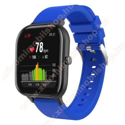 Xiaomi Amazfit BIP LiteOkosóra szíj - szilikon, Twill mintás - KÉK - 20mm széles, 130mm+95mm hosszú, 170-225mm átmérőjű csuklóméretig - SAMSUNG Galaxy Watch 42mm / Xiaomi Amazfit GTS / SAMSUNG Gear S2 / HUAWEI Watch GT 2 42mm / Galaxy Watch Active / Active 2