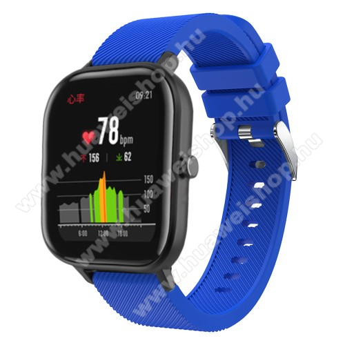 HUAWEI Honor MagicWatch 2 42mmOkosóra szíj - szilikon, Twill mintás - KÉK - 20mm széles, 130mm+95mm hosszú, 170-225mm átmérőjű csuklóméretig - SAMSUNG Galaxy Watch 42mm / Xiaomi Amazfit GTS / SAMSUNG Gear S2 / HUAWEI Watch GT 2 42mm / Galaxy Watch Active / Active 2