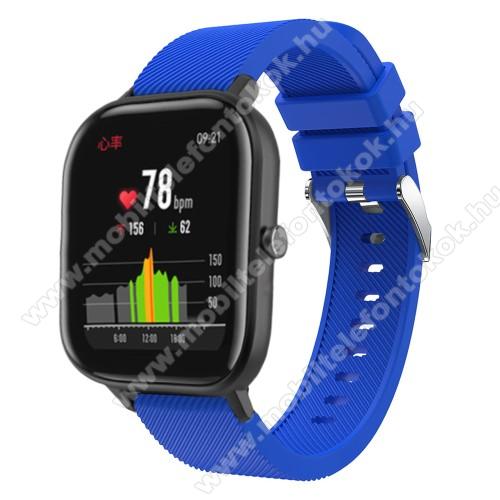 Xiaomi Amazfit NeoOkosóra szíj - szilikon, Twill mintás - KÉK - 20mm széles, 130mm+95mm hosszú, 170-225mm átmérőjű csuklóméretig - SAMSUNG Galaxy Watch 42mm / Xiaomi Amazfit GTS / SAMSUNG Gear S2 / HUAWEI Watch GT 2 42mm / Galaxy Watch Active / Active 2