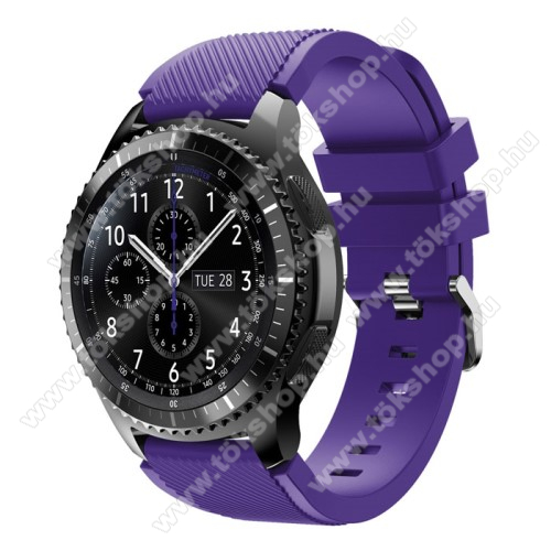 Xiaomi Watch ColorOkosóra szíj - szilikon, Twill mintás - LILA - 140mm-től 215mm-es méretű csuklóig ajánlott, 105mm + 92mm hosszú, 22mm széles - SAMSUNG Galaxy Watch 46mm / SAMSUNG Gear S3 Classic / SAMSUNG Gear S3 Frontier
