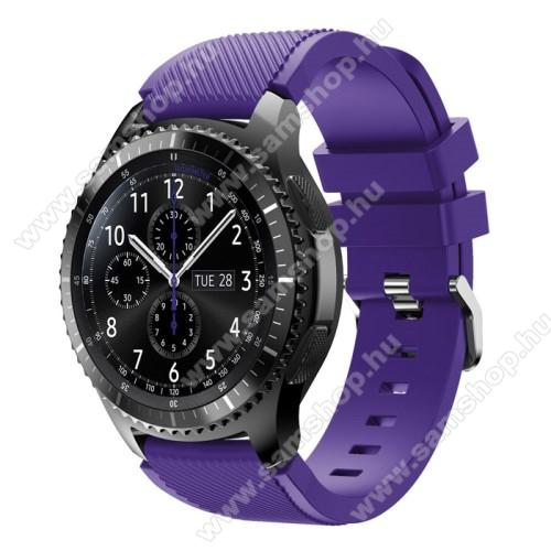 SAMSUNG SM-R760 Gear S3 FrontierOkosóra szíj - szilikon, Twill mintás - LILA - 140mm-től 215mm-es méretű csuklóig ajánlott, 105mm + 92mm hosszú, 22mm széles - SAMSUNG Galaxy Watch 46mm / SAMSUNG Gear S3 Classic / SAMSUNG Gear S3 Frontier