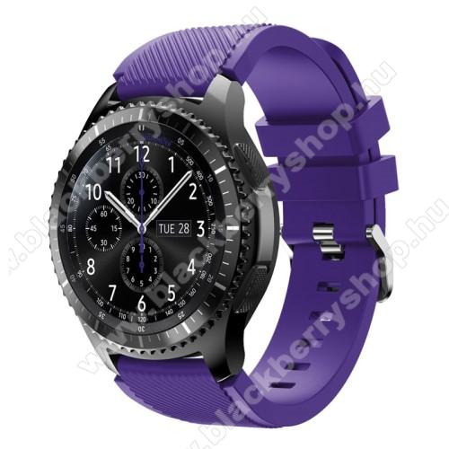 Okosóra szíj - szilikon, Twill mintás - LILA - 140mm-től 215mm-es méretű csuklóig ajánlott, 105mm + 92mm hosszú, 22mm széles - SAMSUNG Galaxy Watch 46mm / SAMSUNG Gear S3 Classic / SAMSUNG Gear S3 Frontier