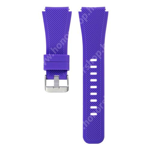 HUAWEI Watch GT 46mm Okosóra szíj - szilikon, Twill mintás - LILA - szilikon, 19cm hosszú, 22mm széles - SAMSUNG Galaxy Watch 46mm / SAMSUNG Gear S3 Classic / SAMSUNG Gear S3 Frontier