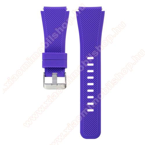 Xiaomi Amazfit PaceOkosóra szíj - szilikon, Twill mintás - LILA - szilikon, 19cm hosszú, 22mm széles - SAMSUNG Galaxy Watch 46mm / SAMSUNG Gear S3 Classic / SAMSUNG Gear S3 Frontier