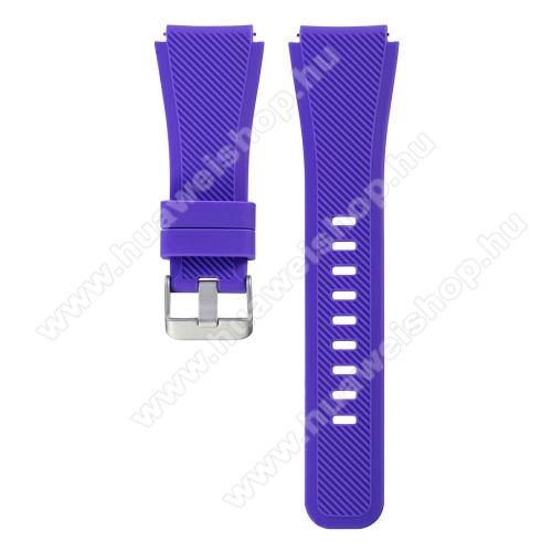 HUAWEI Watch 2 ProOkosóra szíj - szilikon, Twill mintás - LILA - szilikon, 19cm hosszú, 22mm széles - SAMSUNG Galaxy Watch 46mm / SAMSUNG Gear S3 Classic / SAMSUNG Gear S3 Frontier