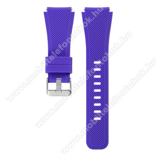 Xiaomi Watch ColorOkosóra szíj - szilikon, Twill mintás - LILA - szilikon, 19cm hosszú, 22mm széles - SAMSUNG Galaxy Watch 46mm / SAMSUNG Gear S3 Classic / SAMSUNG Gear S3 Frontier