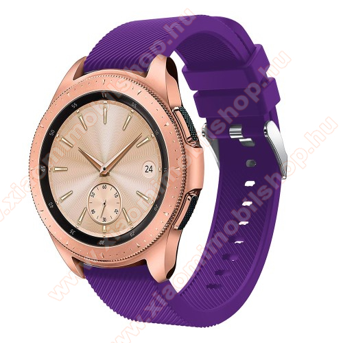 Okosóra szíj - szilikon, Twill mintás - LILA - 102mm + 80mm hosszú, 20mm széles, max 225mm-es csuklóra - SAMSUNG Galaxy Watch 42mm / HUAWEI Watch GT 2 42mm