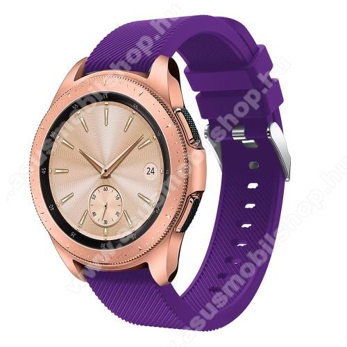 Okosóra szíj - szilikon, Twill mintás - LILA - 102mm + 80mm hosszú, 20mm széles, max 225mm-es csuklóra - SAMSUNG Galaxy Watch 42mm / Xiaomi Amazfit GTS / HUAWEI Watch GT / SAMSUNG Gear S2 / HUAWEI Watch GT 2 42mm / Galaxy Watch Active / Active  2 / Galaxy