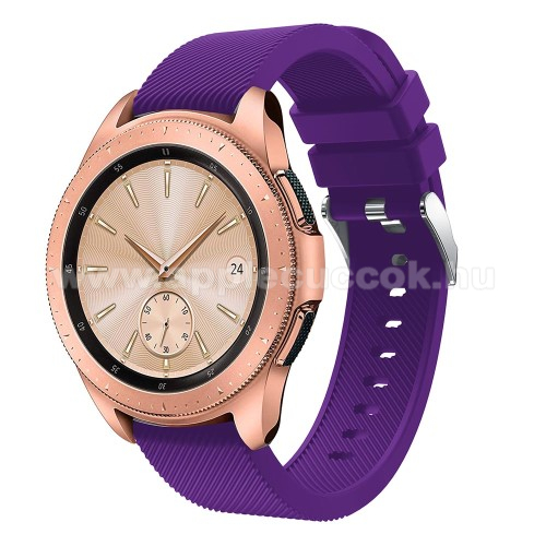 Okosóra szíj - szilikon, Twill mintás - LILA - 102mm + 80mm hosszú, 18mm széles, max 225mm-es csuklóra - SAMSUNG Galaxy Watch 42mm / HUAWEI Watch GT 2 42mm