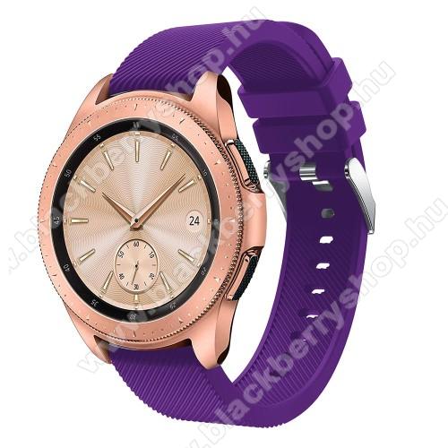 Okosóra szíj - szilikon, Twill mintás - LILA - 102mm + 80mm hosszú, 20mm széles, max 225mm-es csuklóra - SAMSUNG Galaxy Watch 42mm / Xiaomi Amazfit GTS / SAMSUNG Gear S2 / HUAWEI Watch GT 2 42mm / Galaxy Watch Active / Active 2