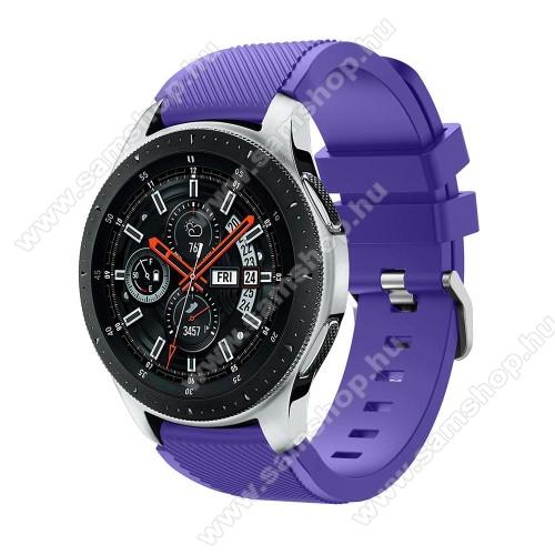 SAMSUNG SM-R770 Gear S3 ClassicOkosóra szíj - szilikon, Twill mintás - LILA - 103mm + 92mm hosszú, 22mm széles, max 215mm-es csuklóra - SAMSUNG Galaxy Watch 46mm / SAMSUNG Gear S3 Classic / SAMSUNG Gear S3 Frontier