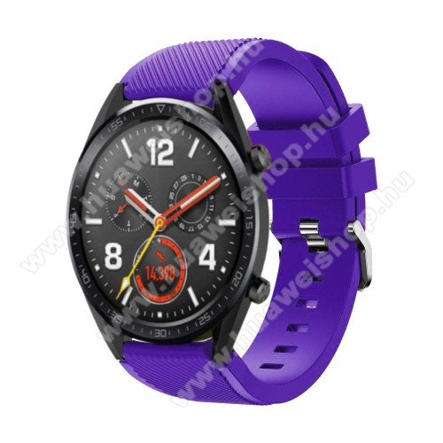 HUAWEI Watch MagicOkosóra szíj - szilikon, Twill mintás - LILA - HUAWEI Watch GT / HUAWEI Watch Magic