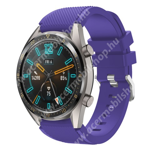 Okosóra szíj - szilikon, Twill mintás - LILA - HUAWEI Watch GT / HUAWEI Honor Watch Magic / HUAWEI Watch 2 Pro