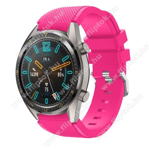 Xiaomi Watch ColorOkosóra szíj - szilikon, Twill mintás - MAGENTA - 93mm + 105mm hosszú, 22mm széles - HUAWEI Watch GT / HUAWEI Watch 2 Pro / Honor Watch Magic / HUAWEI Watch GT 2 46mm