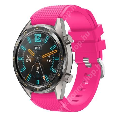 HUAWEI Watch Magic Okosóra szíj - szilikon, Twill mintás - MAGENTA - 93mm + 105mm hosszú, 22mm széles - HUAWEI Watch GT / HUAWEI Watch 2 Pro / Honor Watch Magic / HUAWEI Watch GT 2 46mm