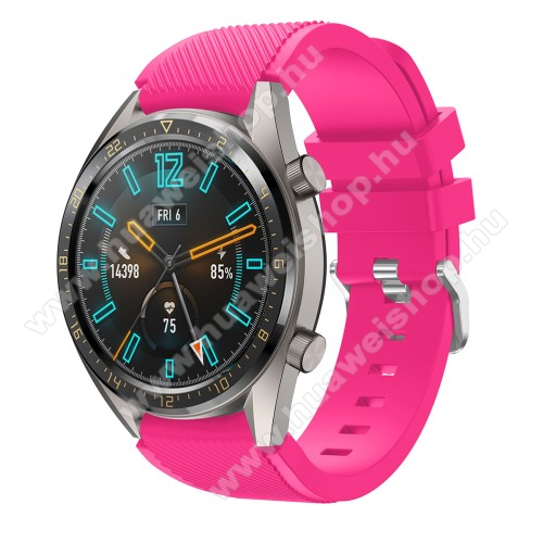 HUAWEI Watch GT 2 46mm Okosóra szíj - szilikon, Twill mintás - MAGENTA - 93mm + 105mm hosszú, 20mm széles - HUAWEI Watch GT / HUAWEI Watch 2 Pro / Honor Watch Magic / HUAWEI Watch GT 2 46mm