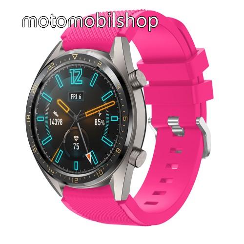 Okosóra szíj - szilikon, Twill mintás - MAGENTA - 93mm + 105mm hosszú, 22mm széles - HUAWEI Watch GT / HUAWEI Watch 2 Pro / Honor Watch Magic / HUAWEI Watch GT 2 46mm