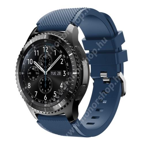 HUAWEI Watch GT 2 Pro 46mm Okosóra szíj - szilikon, Twill mintás - MÉLYKÉK - 140mm-től 215mm-es méretű csuklóig ajánlott, 105mm + 92mm hosszú, 22mm széles - SAMSUNG Galaxy Watch 46mm / SAMSUNG Gear S3 Classic / SAMSUNG Gear S3 Frontier