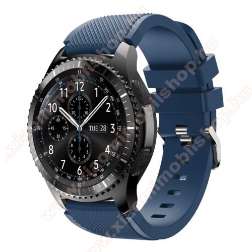 Xiaomi AmazfitOkosóra szíj - szilikon, Twill mintás - MÉLYKÉK - 140mm-től 215mm-es méretű csuklóig ajánlott, 105mm + 92mm hosszú, 22mm széles - SAMSUNG Galaxy Watch 46mm / SAMSUNG Gear S3 Classic / SAMSUNG Gear S3 Frontier