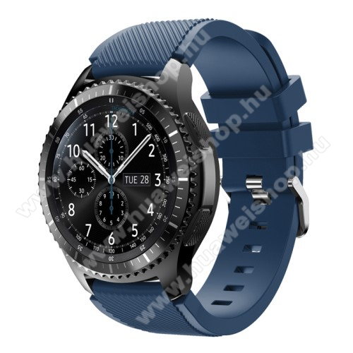 HUAWEI Watch 2 Pro Okosóra szíj - szilikon, Twill mintás - MÉLYKÉK - 140mm-től 215mm-es méretű csuklóig ajánlott, 105mm + 92mm hosszú, 22mm széles - SAMSUNG Galaxy Watch 46mm / SAMSUNG Gear S3 Classic / SAMSUNG Gear S3 Frontier