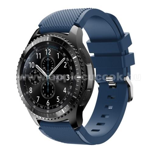 Okosóra szíj - szilikon, Twill mintás - MÉLYKÉK - 140mm-től 215mm-es méretű csuklóig ajánlott, 105mm + 92mm hosszú, 22mm széles - SAMSUNG Galaxy Watch 46mm / SAMSUNG Gear S3 Classic / SAMSUNG Gear S3 Frontier
