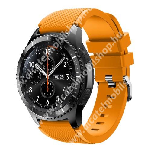 Okosóra szíj - szilikon, Twill mintás - NARANCS - 140mm-től 215mm-es méretű csuklóig ajánlott, 105mm + 92mm hosszú, 22mm széles - SAMSUNG Galaxy Watch 46mm / SAMSUNG Gear S3 Classic / SAMSUNG Gear S3 Frontier