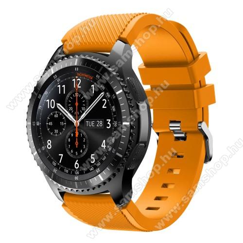 SAMSUNG SM-R770 Gear S3 ClassicOkosóra szíj - szilikon, Twill mintás - NARANCS - 140mm-től 215mm-es méretű csuklóig ajánlott, 105mm + 92mm hosszú, 22mm széles - SAMSUNG Galaxy Watch 46mm / SAMSUNG Gear S3 Classic / SAMSUNG Gear S3 Frontier
