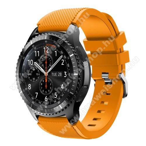 HUAWEI Watch GT 2eOkosóra szíj - szilikon, Twill mintás - NARANCS - 140mm-től 215mm-es méretű csuklóig ajánlott, 105mm + 92mm hosszú, 22mm széles - SAMSUNG Galaxy Watch 46mm / SAMSUNG Gear S3 Classic / SAMSUNG Gear S3 Frontier