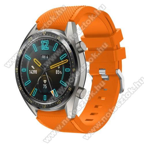 HUAWEI Honor MagicWatch 2 46mmOkosóra szíj - szilikon, Twill mintás - NARANCS - 125mm + 85mm hosszú, 22mm széles - HUAWEI Watch GT / HUAWEI Watch 2 Pro / Honor Watch Magic / HUAWEI Watch GT 2 46mm