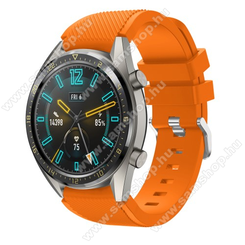 SAMSUNG Galaxy Watch3 45mm (SM-R845F)Okosóra szíj - szilikon, Twill mintás - NARANCS - 125mm + 85mm hosszú, 22mm széles - HUAWEI Watch GT / HUAWEI Watch 2 Pro / Honor Watch Magic / HUAWEI Watch GT 2 46mm